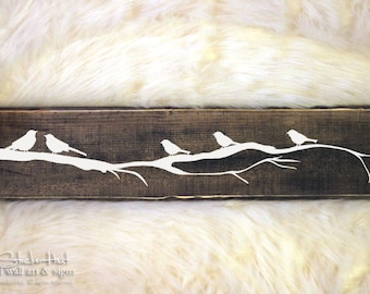 Family Birds on a Branch Wood Sign - Home Decor - Wall Decor - Gift Ideas - Family Decor - Distressed Wooden Sign S281