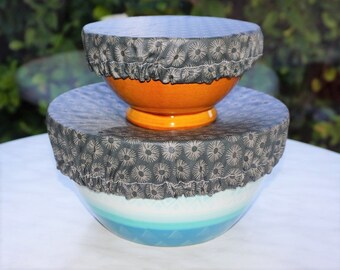 Round, tea-bowls/bowls/dishes, Charlotte fabric coated, charcoal grey or rust