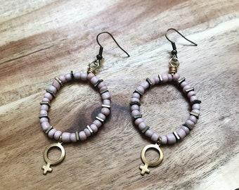 I AM FEMALE Earrings + Brass + Seed Beads + Pastel Pink + Nickel Free  + Handmade Jewelry + Boho