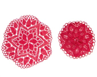 2 pink coral knitted Doilies Vintage hand dyed doilies