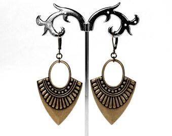 Boho Earrings, Gypsy Earrings, Brass Dangle Earrings, Tribal Earrings Hoop Earrings, Everyday Earrings, Boho Jewelry, Steampunk Boutique