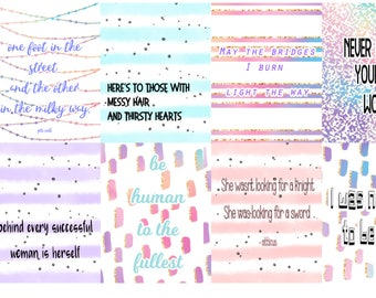 Woman Power, Planner Quote Boxes, full box, happy planner, erin condren, matte, gloss,y weekly planner sticker kits