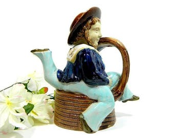 19th Century Antique Majolica Sailor Figural Teapot Brownfield for Boughton's Isle of Man