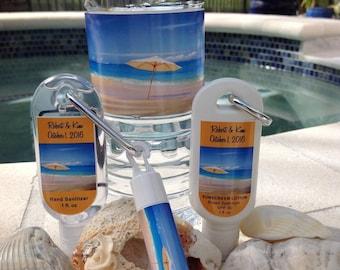 Destination Wedding Sunscreen 1oz 30 SPF Hand Sanitizer SPF 15 Lip Balm Water Bottle Labels Beach Theme Wedding Favor Set Waterproof Labels