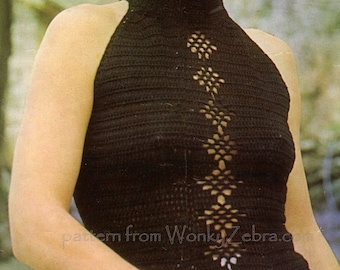 Vintage Crochet Pattern 227 PDF Diamond Halter Top from WonkyZebra