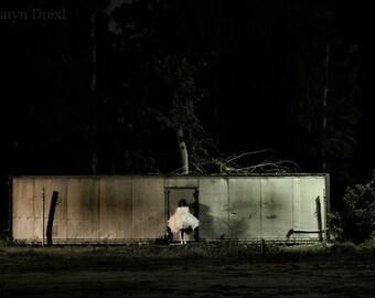 Alone In The Dark - FREE SHIPPING - Surreal Photo Print Dark Art Industrial Trailer Black Night Girl White Tulle Creepy Dress Wall Decor