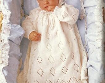 "PDF Knitting Pattern, 4Ply, Sz40 n 50 cm ""Christianne"" Baby Dress, Bonnet & Bootees"