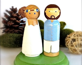"Beach Themed Wedding Cake Topper Bride and Groom Cake Topper Large 3.5"" Wood Peg Dolls Wooden Cake Topper Cute Wedding Cake Toppers"