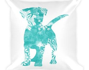 Watercolor Mandala Accent Pillow   18x18 Square Pillow   Dog   Teal