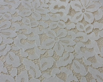 Ivory lace fabric by the yard, French Lace, Embroidered lace Wedding Lace Bridal lace White Lace Veil lace Lingerie Lace Alencon Lace L19111