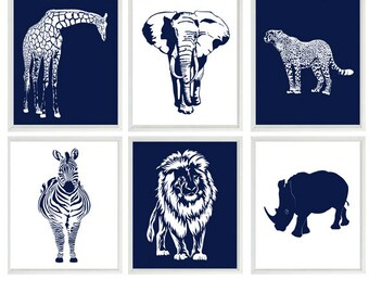 Safari Nursery Wall Art, Baby Boy Nursery, Navy Blue, White, Elephant, Giraffe, Lion, Cheetah, Zebra, Rhino, Safari Prints, Modern Nursery
