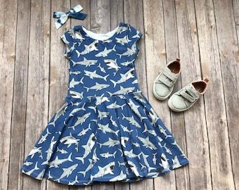 Shark Dress. Fish Dress. Baby Dress. Toddler Dress. Little Girl Dress. Twirl Dress. Twirly Dress. Play Dress. Ocean Dress. Girl Shark Dress.