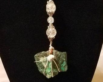 Handmade Dark Green Aventurine Wire Wrapped Pendant Necklace. Chakra Reiki