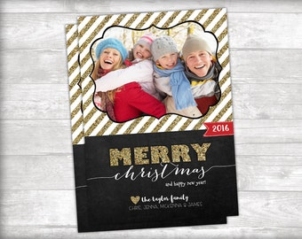Gold Glitter Merry Christmas Photo Christmas Card Printable