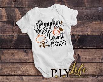 Kids   Pumpkin Kisses and Harvest Wishes Thanksgiving Fall Kids Bodysuit DTG Printing on Demand