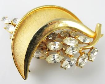 BSK signed brooch pin, Vintage BSK jewelry ice marquise rhinestones, Huge big gold designer pin, Signed vintage pin, BSK pin brooch birthday