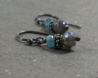Mystic Labradorite Earrings Aqua Blue Apatite Petite Oxidized Sterling Silver Gift for Her