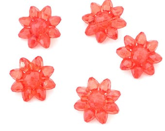5 polyester translucent flower buttons 22mm diameter red molded effect