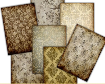 INSTANT DOWNLOAD.  DAMASK wallpaper Decoupage  brown vintage  texture paper craft , photo cards  web backgrounds, etsy banners, Tp44