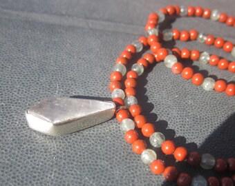 Selenite red Jasper blue Apatite Necklace: women*s power
