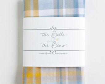 Pocket Square, Handkerchief, Mens Pocket Square, Boys Pocket Square, Wedding Pocket Squares - Steel Blue, Grey, And Mustard Madras Plaid