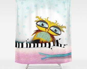 Owl Shower Curtain - Choose between Two owls shower curtain , Owl alone shower curtain or New baby Owl