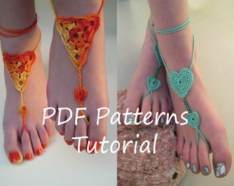 Barefoot sandals crochet patterns - 2 pdf crochet patterns - bridesmaid foot jewelry pattern - heart barefoot sandals pattern - triangle PDF