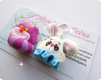 Original Handmade Chesire Cat  and Bunny Earrings polymer Clay Alice in Wonderland
