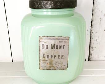Hazel Atlas tiré sur votre jadéite vert en verre Du Mont café épices