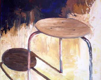 Danish Stool Original Palette Knife Oil on Canvas Mid Century Furniture Painted Edge