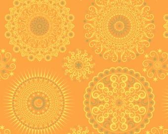 Geometric Fabric: CELESTIAL SOL MANDALAS Sunshine by Quilting Treasures 100% cotton fabric by the yard (QT523)
