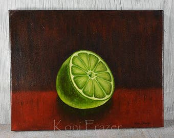 Lime oil painting on canvas, kitchen wall art, original oil painting of a lime, citrus fruit painting