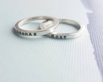 Personalised sterling silver stacking rings set, stacking rings, stackable rings, ring stack, name ring stack, stacking name rings, 3 rings