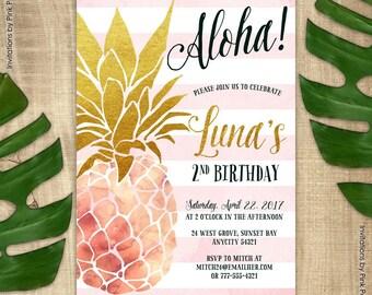 Pineapple Invitation, Birthday Party Invitation, Pink and Gold Pineapple, Aloha Luau Hawaiian Printable Invitation