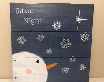 Rustic Reclaimed Wood Sign - Silent Night w/ Snowman and North Star. 16x16