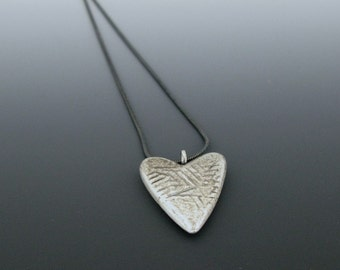 heart pendant - scratched heart