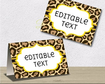 Instant Download - Editable PDF Printable - Leopard Label / Sticker / Tent Card - DIY - Yellow Gold Lining