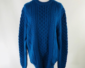 Vintage 90s Lord & Taylor Fisherman Blue Sweater Cable Knit 100% Wool Size Large
