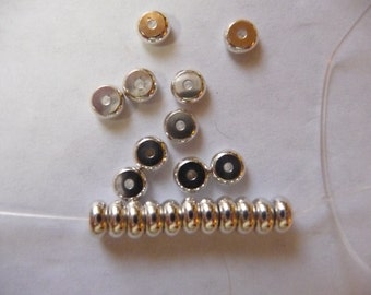 Bead, Silver Plated, Brass, 5mm, Heishi, Pack Of 16 beads.
