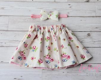 Girl's Floral Skirt, Girl's Skirt Set, Cream Skirt, Pink Skirt, Floral Skirt, Baby Skirt, Toddler Skirt, Baby Girl Skirt Set, Pink Skirt
