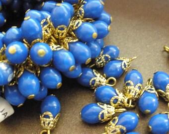 Vintage Glass Beads (16) Japanese Blue Drop Dangle Beads