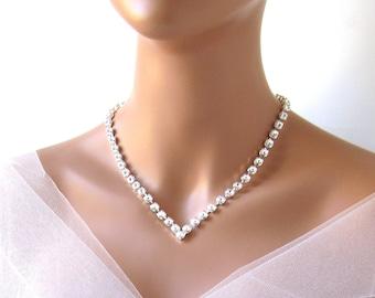 V Necklace, Wedding Necklace, Rhinestone Necklace, Bride Necklace, Swarovski Jewelry, Crystal Necklace, Wedding Jewelry, Bridal Necklace