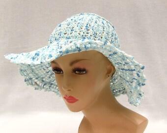 Crochet Summer hat Sun hat Lace blue hat Wide brim hat Traveller's hat One of a kind hat Dressy derby hat