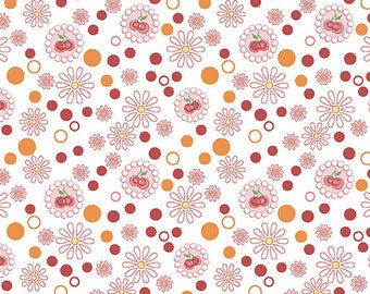 Kitchen Love - Per Yd - Contempo by Benartex - by Cherry Guidry - circles and dots - pink, coral on white