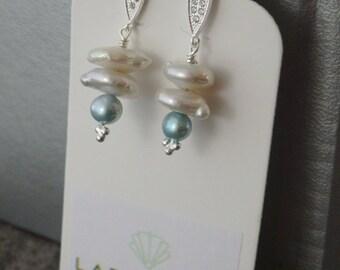 White Freshwater Pearl Earrings, White Pearls, Pearl Earrings, Pearl Drops, Earring Drops, Silver Drops