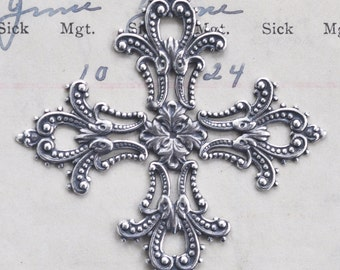 Brass Filigree Cross Stone Wrap, Sterling Silver Finish, Fold-Over Filigrees, Made in the USA
