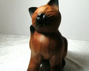 Carved Wooden Siamese Cat, Vintage Item, Cat Figurine, Cat Lover, Collector, Home Decor, Crazy Cat Lady