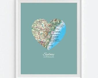 Sydney Australia Heart Vintage Map ART PRINT, Sydney art map print poster, travel gift for couple,wedding gift, Christmas gift for her