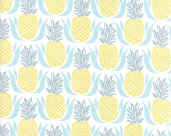 Bungalow Pineapple Fabric White Aqua #27292-11 by Kate Spain for Moda Fabrics, One yard, Bungalow Fabric, IN STOCK