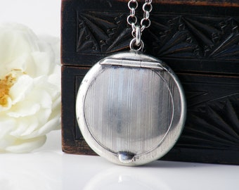 1918 Antique Sterling Silver Locket | Edwardian Chatelaine Compact Locket | Antique Hallmarked English Silver - 27.5 Inch Sterling Chain